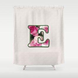 Letter E Rose Monogram Shower Curtain