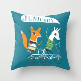 Fausto Fox and Junicorn Bikers Throw Pillow