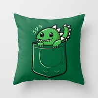 pocket Throw Pillows featuring Pocket Godzilla by fishbiscuit