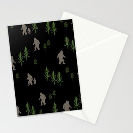 Sasquatch forest woodland mythic animal nature pattern cute kids design forest Stationery Cards