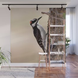Watercolor Bird, Hairy Woodpecker 01, RMNP, Colorado, On the Way to Ypsilon Wall Mural