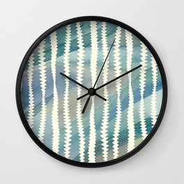 Banksia Leaf Lines in Blue and Butter Wall Clock