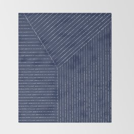 Lines / Navy Throw Blanket