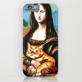 woman with a cat iPhone Case