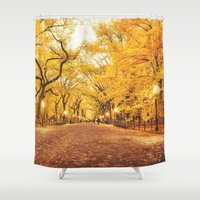 new york city Shower Curtains featuring New York City Autumn by Vivienne Gucwa
