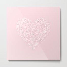 pink lace valentine heart illustration Metal Print