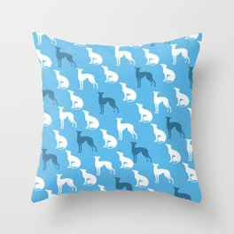 Greyhound Dogs Pattern On Blue Color Throw Pillow