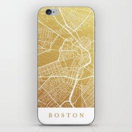 Gold Boston map iPhone Skin