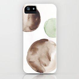 2 |181104 Australian Leaf Green & Brown Earth Orbs | Watercolour Circle Abstract Geometrical iPhone Case