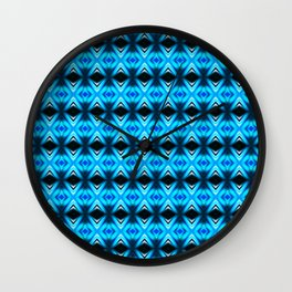 Blue Abstract Mirror Pattern Wall Clock