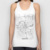 nashville Tank Tops featuring Nashville Map Gray by City Art Posters