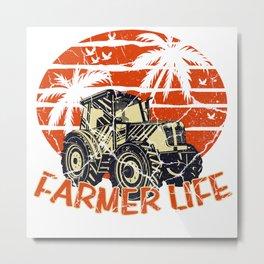Tractor Farmer Gift Shirt Farmer Trecker Cool Metal Print