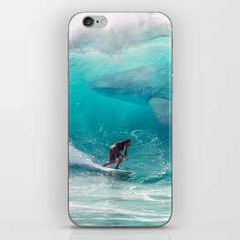 Surfing with a Giant Shark iPhone Skin