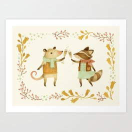 Cheers! From Pinknose the Opossum & Riley the Raccoon Art Print