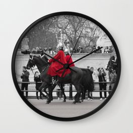 Household Calvary Trot by Buckingham Palace during Changing of the Guard London England Wall Clock