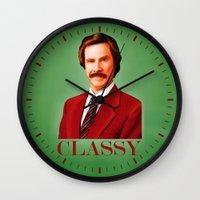 classy Wall Clocks featuring CLASSY by John Medbury (LAZY J Studios)