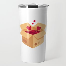 Love is in the air. Vector love box. Surprise box. Isometric box Travel Mug