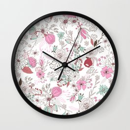Fuchsia pastel green white abstract floral illustration Wall Clock