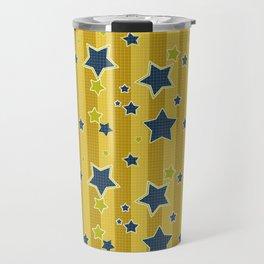 Blue stars on a yellow background Travel Mug