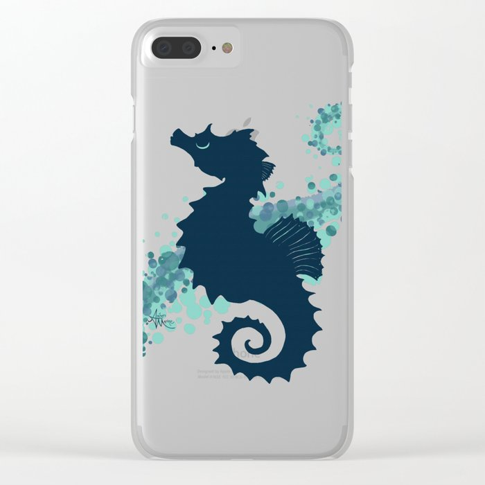 """""""Seahorse Silhouette"""" ` digital illustration by Amber Marine, (Copyright 2015) Clear iPhone Case"""