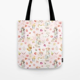 Little girls on the farm Tote Bag