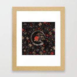 Enso Circle Bonsai Tree on Zen Symbol pattern on black Framed Art Print