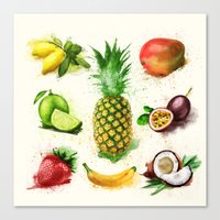 fruits Canvas Prints featuring fruits by Zazie-bulles