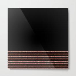 Black and Copper Stripes Metal Print