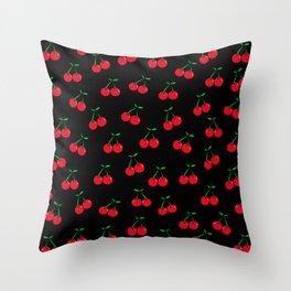 Cherries 2 (on black) Throw Pillow