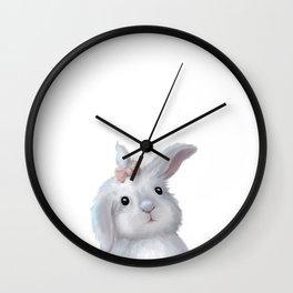 White Rabbit Girl isolated Wall Clock