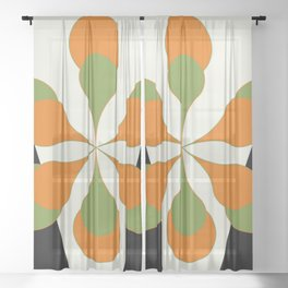 Mid-Century Modern Art 1.4 - Green & Orange Flower Sheer Curtain