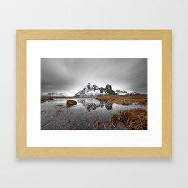 Mountain range with reflection Framed Art Print