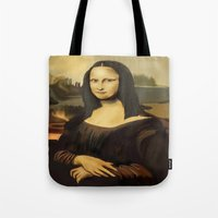 mona lisa Tote Bags featuring Mona Lisa by Dano77