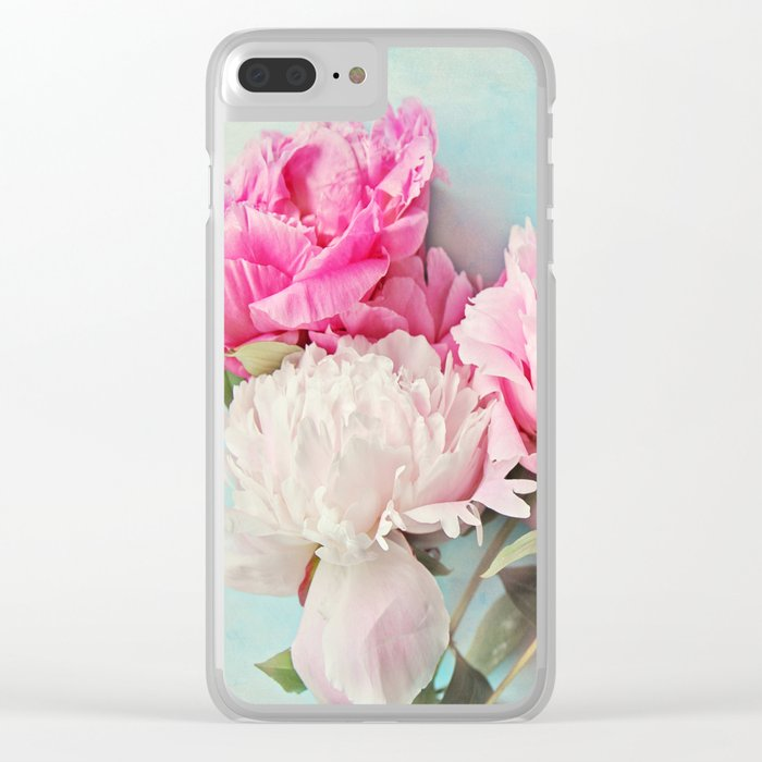 3 peonies Clear iPhone Case