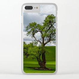 Single Tree in Green Field Clear iPhone Case