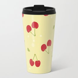 Red cherries in a yellow background Travel Mug