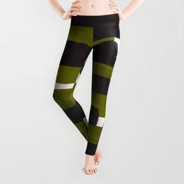 Olive Green Primitive Stripes Mid Century Modern Minimalist Watercolor Gouache Painting Colorful Str Leggings