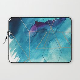Galaxy Series [1]: an abstract mixed media piece in blue, purple, white, and gold Laptop Sleeve