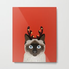 Siamese Cat Reindeer Costume funny cat art for cat lady gift for the holidays cats christmas outfit Metal Print