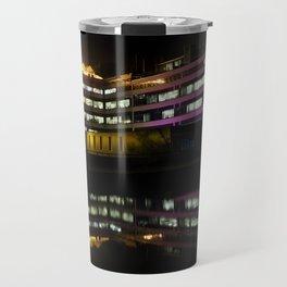 architectural reflection - the 1960s ec stoner building illuminated at night Travel Mug