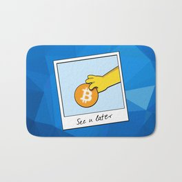 See you later Bitcoin on blue facets Bath Mat