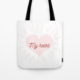 shining heart in pink Tote Bag