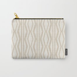 Pastel White Cream Linen Geometric Pattern Carry-All Pouch