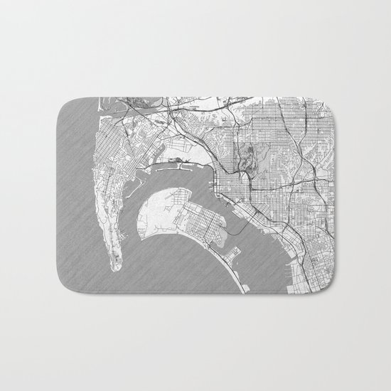 San Diego Map Line Bath Mat