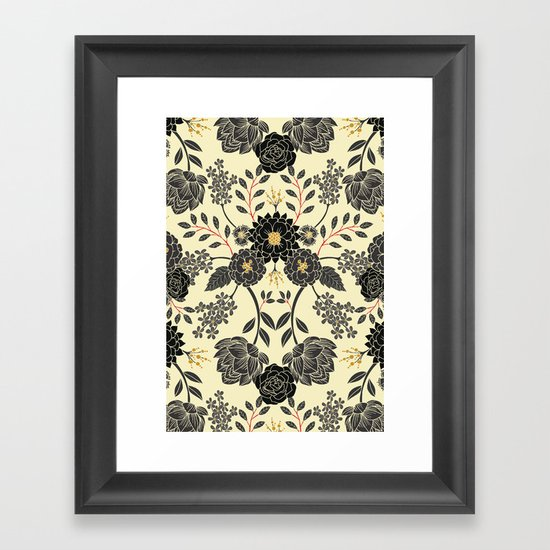 Gray, Black, Cream, Yellow & Red Sophisticated Floral Pattern by somecallmebeth