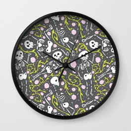 Skeletons in Spring - abbey grey - white  Wall Clock