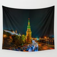 moscow Wall Tapestries featuring Moscow Kremlin At Night by digital2real
