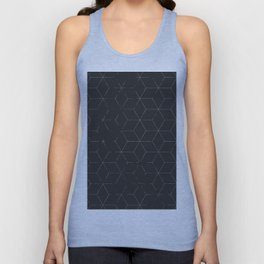 Faded Black and White Cubed Abstract Unisex Tank Top