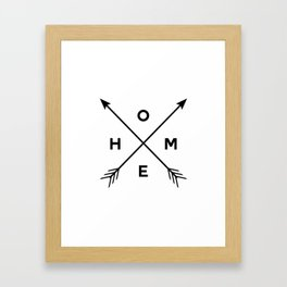 home arrows, black and white, boho, hipster, arrow print, Framed Art Print