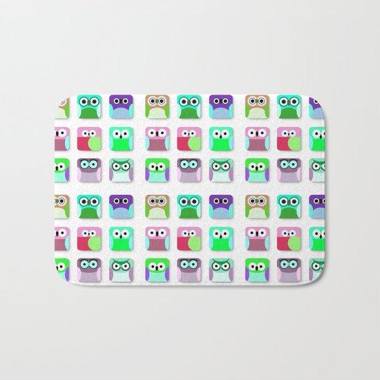 Cute Owl Pattern #2 Bath Mat